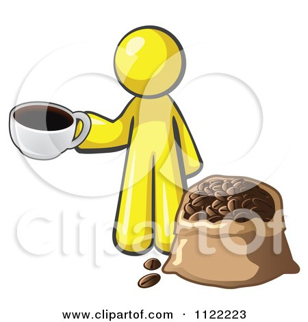 Cartoon Of A Yellow Man With A Cup Of Coffee Over A Bag Of Beans - Royalty Free Vector Clipart by Leo Blanchette