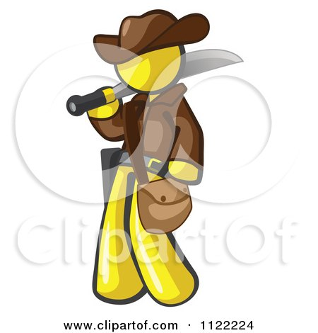 Cartoon Of A Yellow Explorer Man Carrying A Machete - Royalty Free Vector Clipart by Leo Blanchette