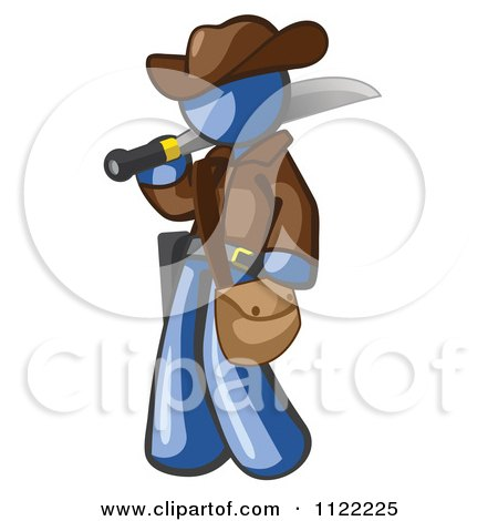 Cartoon Of A Blue Explorer Man Carrying A Machete - Royalty Free Vector Clipart by Leo Blanchette