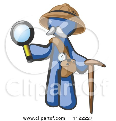 Cartoon Of A Blue Man Explorer With A Pack Cane And Magnifying Glass - Royalty Free Vector Clipart by Leo Blanchette