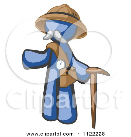 Cartoon Of A Blue Man Explorer With A Pack And Cane - Royalty Free Vector Clipart by Leo Blanchette