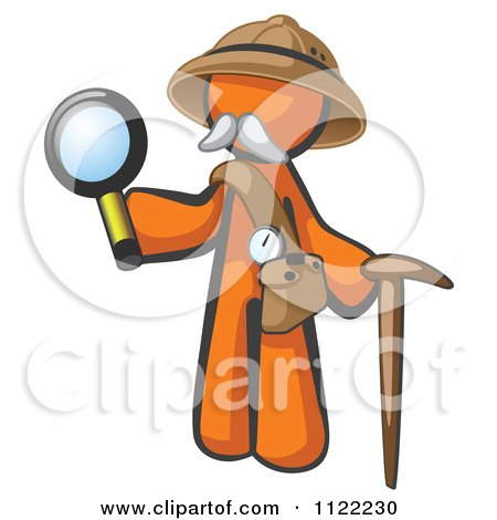 Cartoon Of An Orange Man Explorer With A Pack Cane And Magnifying Glass - Royalty Free Vector Clipart by Leo Blanchette