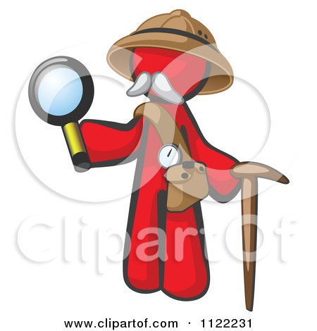 Cartoon Of A Red Man Explorer With A Pack Cane And Magnifying Glass - Royalty Free Vector Clipart by Leo Blanchette