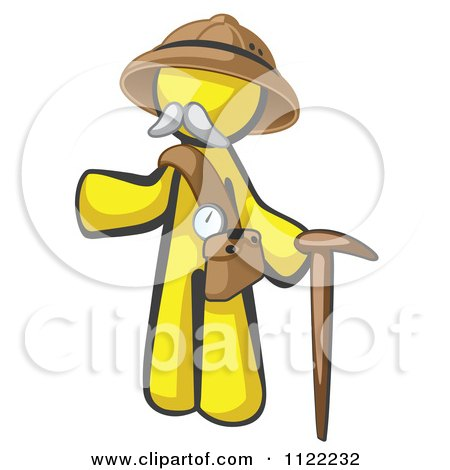Cartoon Of A Yellow Man Explorer With A Pack And Cane - Royalty Free Vector Clipart by Leo Blanchette