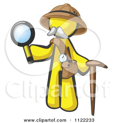 Cartoon Of A Yellow Man Explorer With A Pack Cane And Magnifying Glass - Royalty Free Vector Clipart by Leo Blanchette