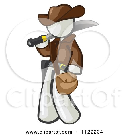 Cartoon Of A White Explorer Man Carrying A Machete - Royalty Free Vector Clipart by Leo Blanchette