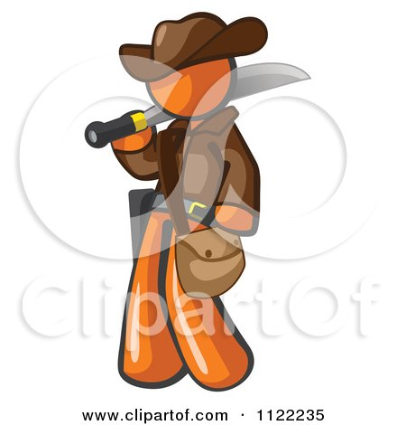 Cartoon Of An Orange Explorer Man Carrying A Machete - Royalty Free Vector Clipart by Leo Blanchette