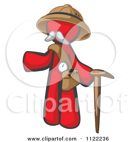 Cartoon Of A Red Man Explorer With A Pack And Cane - Royalty Free Vector Clipart by Leo Blanchette