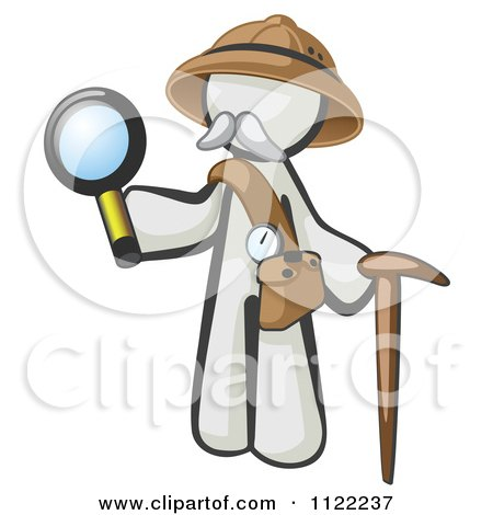 Cartoon Of A White Man Explorer With A Pack Cane And Magnifying Glass - Royalty Free Vector Clipart by Leo Blanchette
