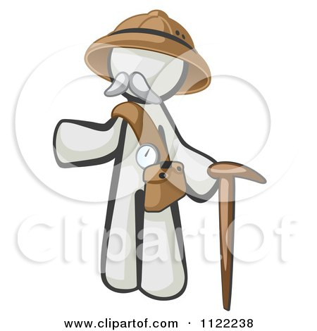 Cartoon Of A White Man Explorer With A Pack And Cane - Royalty Free Vector Clipart by Leo Blanchette