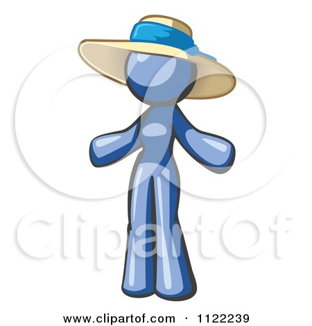 Cartoon Of A Blue Woman Wearing A Sun Hat - Royalty Free Vector Clipart by Leo Blanchette