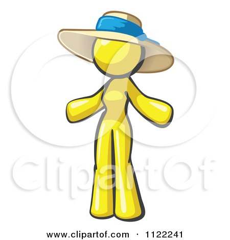 Cartoon Of A Yellow Woman Wearing A Sun Hat - Royalty Free Vector Clipart by Leo Blanchette
