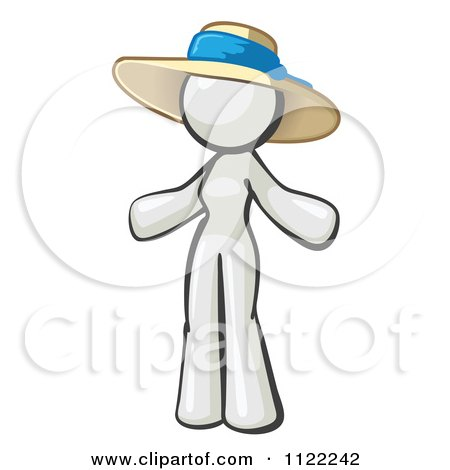 Cartoon Of A White Woman Wearing A Sun Hat - Royalty Free Vector Clipart by Leo Blanchette