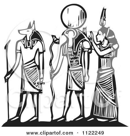 Clipart Of Black And White Woodcut Anubis Gods - Royalty Free Vector Illustration by xunantunich