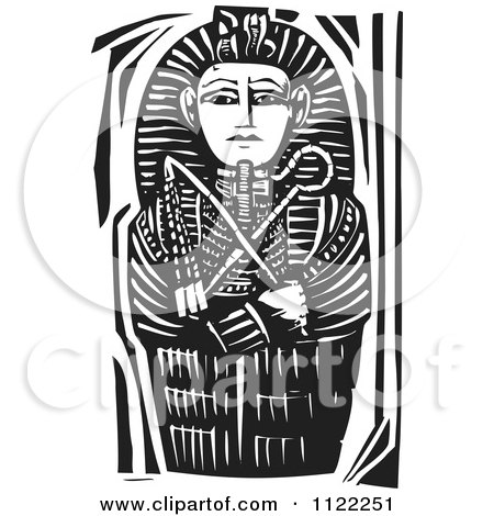 Clipart Of A Black And White Woodcut Egyptian Coffinette Of King Tutankhamen - Royalty Free Vector Illustration by xunantunich