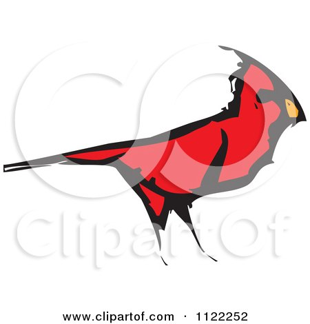 Clipart Of A Woodcut Red Cardinal Bird - Royalty Free Vector Illustration by xunantunich