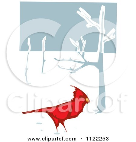 Clipart Of A Woodcut Red Cardinal Bird In The Snow - Royalty Free Vector Illustration by xunantunich
