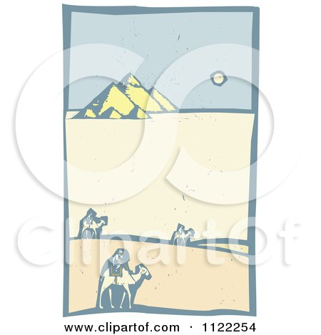 Clipart Of Woodcut Wise Men On Camels Near The Pyramids - Royalty Free Vector Illustration by xunantunich