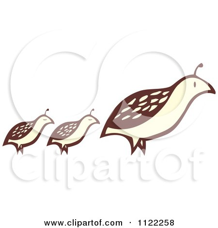 Clipart Of A Woodcut Partridge Pheasant Bird And Chicks - Royalty Free Vector Illustration by xunantunich