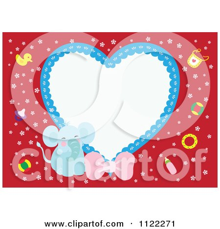 Clipart Of A Heart Frame With A Cute Baby Boy Elephant On Red - Royalty Free Vector Illustration by Cherie Reve