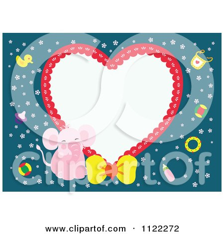 Clipart Of A Heart Frame With A Cute Baby Girl Elephant On Blue - Royalty Free Vector Illustration by Cherie Reve