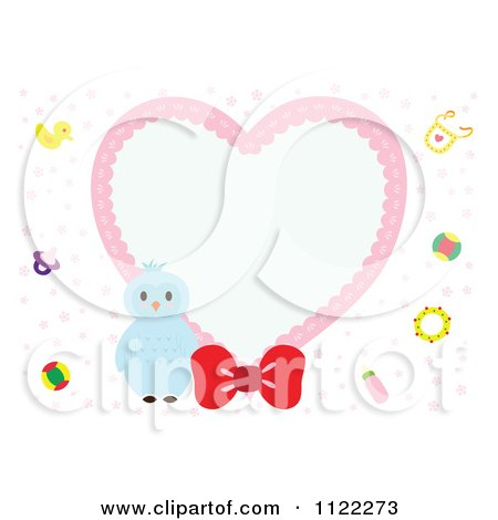 Clipart Of A Heart Frame With A Cute Baby Owl - Royalty Free Vector Illustration by Cherie Reve