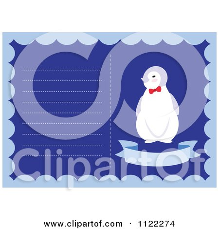 Clipart Of A Newborn Baby Frame With A Cute Penguin - Royalty Free Vector Illustration by Cherie Reve