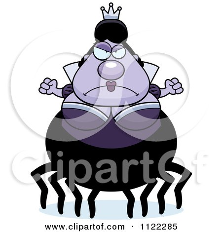 Cartoon Of A Mad Chubby Spider Queen - Royalty Free Vector Clipart by Cory Thoman