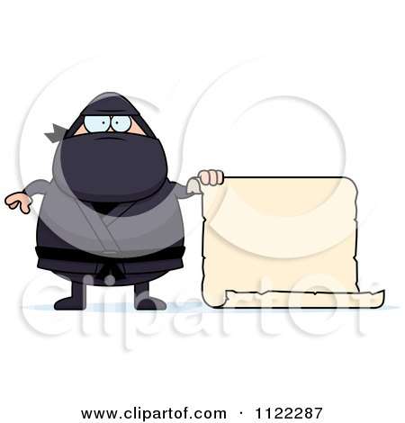 Cartoon Of A Chubby Ninja Man With A Sign 2 - Royalty Free Vector Clipart by Cory Thoman