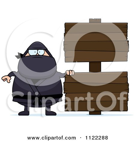 Cartoon Of A Chubby Ninja Man With A Sign 3 - Royalty Free Vector Clipart by Cory Thoman