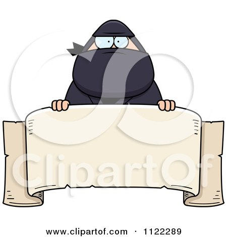 Cartoon Of A Chubby Ninja Man With A Sign 1 - Royalty Free Vector Clipart by Cory Thoman