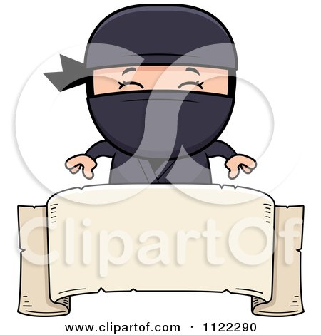 Cartoon Of A Happy Ninja Boy Over A Banner Sign - Royalty Free Vector Clipart by Cory Thoman