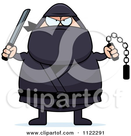 Cartoon Of A Chubby Ninja Man With Weapons Royalty Free Vector Clipart