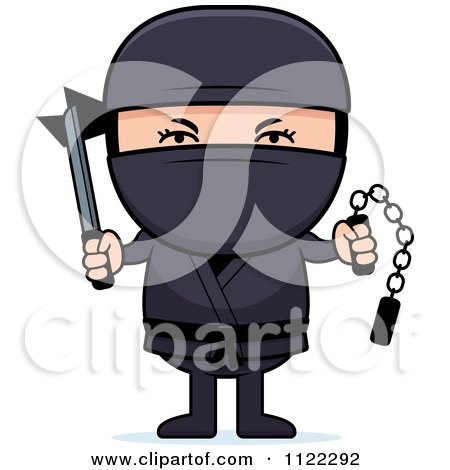 Cartoon Of A Ninja Boy With Weapons - Royalty Free Vector Clipart by Cory Thoman