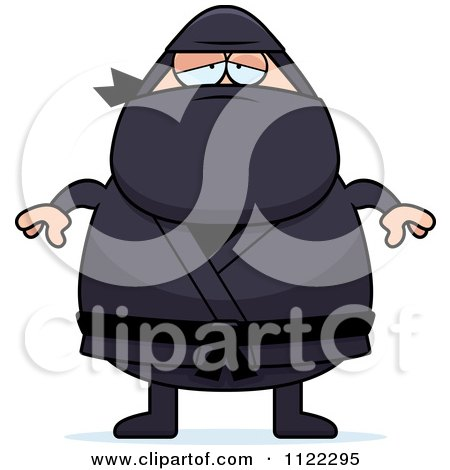 Cartoon Of A Depressed Chubby Ninja Man Royalty Free Vector Clipart