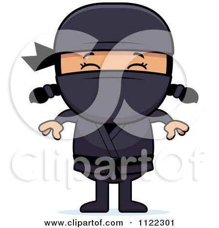 Cartoon Of A Happy Asian Ninja Girl - Royalty Free Vector Clipart by Cory Thoman