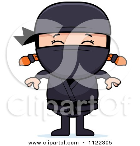 Cartoon Of A Happy Red Haired Ninja Girl - Royalty Free Vector Clipart by Cory Thoman