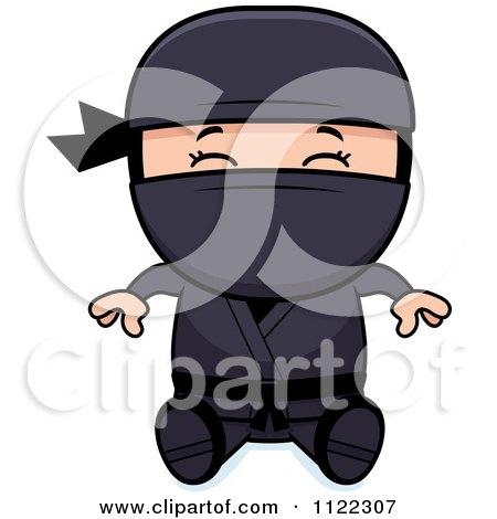 Cartoon Of A Happy Ninja Boy Sitting - Royalty Free Vector Clipart by Cory Thoman