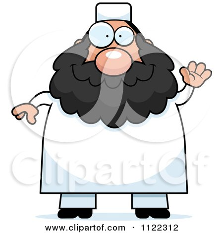 Cartoon Of A Chubby Muslim Man Waving - Royalty Free Vector Clipart by Cory Thoman