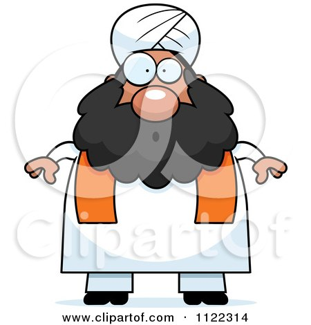 Cartoon Of A Surprised Chubby Muslim Sikh Man - Royalty Free Vector Clipart by Cory Thoman
