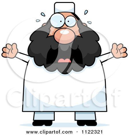 Cartoon Of A Scared Chubby Muslim Man - Royalty Free Vector Clipart by Cory Thoman