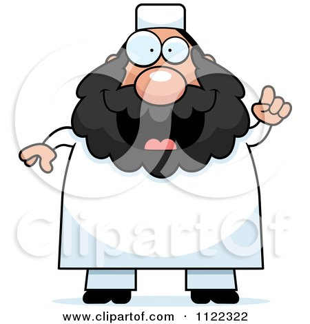 Cartoon Of A Chubby Muslim Man With An Idea - Royalty Free Vector Clipart by Cory Thoman