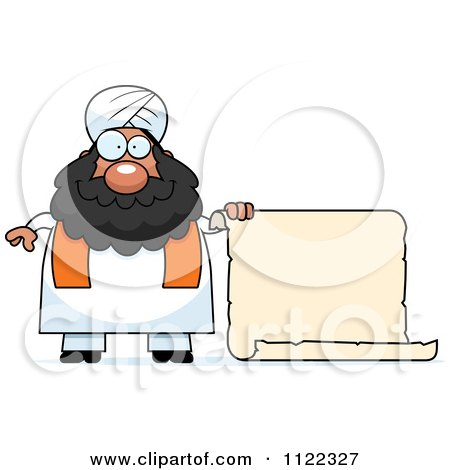 Cartoon Of A Chubby Muslim Sikh Man With A Sign - Royalty Free Vector Clipart by Cory Thoman