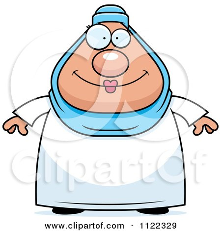 Cartoon Of A Chubby Muslim Woman - Royalty Free Vector Clipart by Cory Thoman