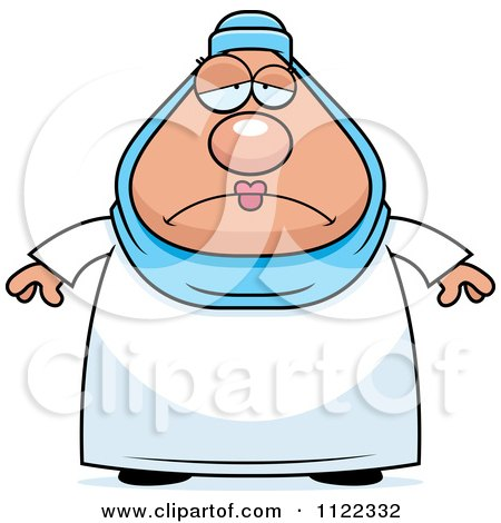 Cartoon Of A Depressed Chubby Muslim Woman - Royalty Free Vector Clipart by Cory Thoman