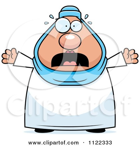 Cartoon Of A Scared Chubby Muslim Woman - Royalty Free Vector Clipart by Cory Thoman