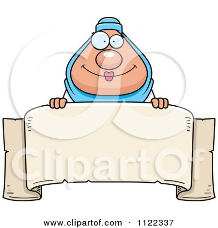 Cartoon Of A Chubby Muslim Woman Over A Banner Sign - Royalty Free Vector Clipart by Cory Thoman