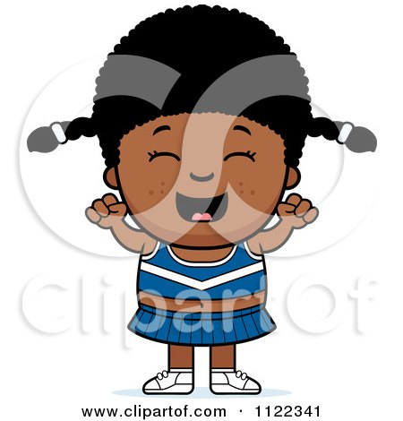 Cartoon Of A Happy Black Cheerleader Girl Cheering - Royalty Free Vector Clipart by Cory Thoman