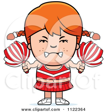 Cartoon Of An Angry Red Haired Cheerleader Girl - Royalty Free Vector Clipart by Cory Thoman