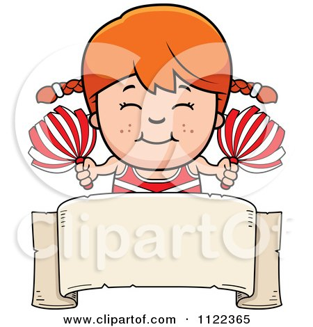 Cartoon Of A Happy Red Haired Cheerleader Girl Over A Sign - Royalty Free Vector Clipart by Cory Thoman